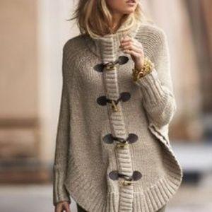 MICHAEL KORS Knit Toggle Cape Cardigan Sweater Zip